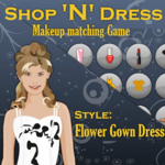 Shop 'N' Dress Makeup matching Game Style: Flower Gown Dress