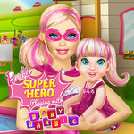 Barbie Super Hero Playing With Baby Barbie