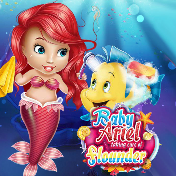 Baby Ariel Taking Care Of Flounder