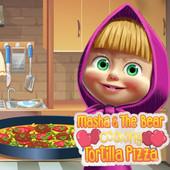 Masha & The Bear Cooking Tortilla Pizza
